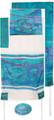 "Yair emanuel Hand-Painted Silk Tallit – Jerusalem Vista blue  21"" x 77""  TS-6"