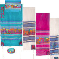 "Yair emanuel Hand-Painted Silk Tallit – Jerusalem dove 21"" x 77""  TS-8"