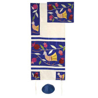 Yair emanuel Embroidered Raw Silk Tallit - Birds blue TFA-8