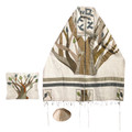 Yair emanuel Embroidered Raw Silk Tallit - Tree of life TFA-2