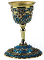 Jeweled Goblet Kiddush Cup Blue Turquoise with Sapphire Crystals