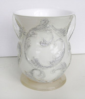 Acrylic Washing Cup White With Silver Glitter (WC-AVI569W)