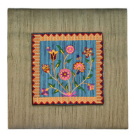 Gold Flowers Embroidered Picture and Picture Frame