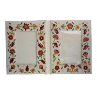 Double Pomegranate Embroidered Picture Frame