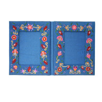 Double Flowers Embroidered Picture Frame