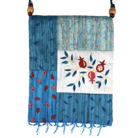 Blue Flowers Applique Embroidered Bag