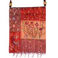 Red Pomegranate Applique Embroidered Bag