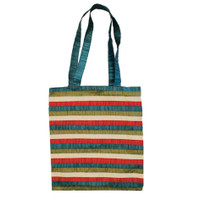 Multicolor Striped Applique Paches Bag