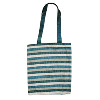 Blue Striped Applique Paches Bag