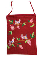 Maroon Birds Embroidered Bag