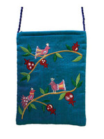 Turquoise Birds Embroidered Bag