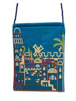 Turquoise Jerusalem Embroidered Bag