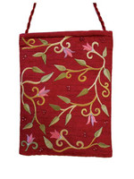 Maroon Flowers Embroidered Bag