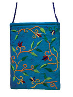 Turquoise Flowers Embroidered Bag