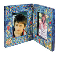 Peacock Double Wooden Painted Picture Frame