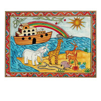 Noah's Ark Framed Painted Wooden Picture