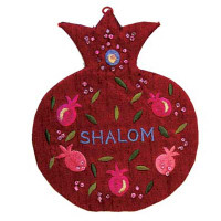Shalom English Red Pomegranate Embroidered Wall Decoration
