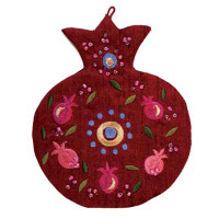 Pomegranate Red Embroidered Wall Decoration