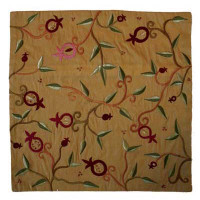 Gold Branches and Pomegrantes Embroidered Pillow Cover