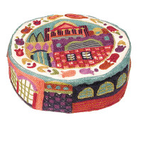 Multicolored Jerusalem Hand Embroidered Hat