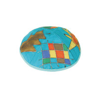 Turquoise Tribes Silk Painted Kippah