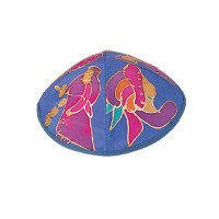 Blue Figures Silk Painted Kippah