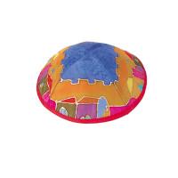 Colorful Jersualem Silk Painted Kippah