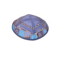Jerusalem Blue Silk Painted Kippah