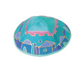 Shaded Turquoise Jerusalem Silk Painted Kippah