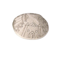 Jerusalem in Silver Hand Embroidered Kippah