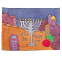 Silk Painted Challa Cover - Menorah Jerusalem