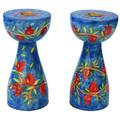 Blue Brances and Pomegranates New Shape Medium Candlesticks