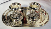 Siver Plated Small Candle sticks on tray