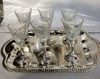 Silverplate & Crystal Liquer Cup Set