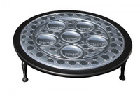 Sterling Silver Passover Seder Plate on Wooden Base / Hadad Bros.