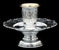 Silver Dipped Mayim Acharonim with floral motif