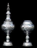 Silver Dipped Havdala Set - floral swirl