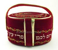 Red Velvet Esrog Box with Handle