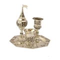Silver Plated 4 piece Havdallah Set with Pearl Design