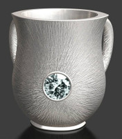 Acrylic Washing Cup Brushed Silver & Diamond