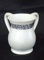 Acrylic Washing Cup White Silver Stones (WC-AVI577W)