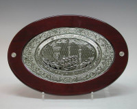 Oval Silver and Wood Challah Board