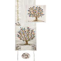 Embroidered Raw Silk Tallit - Tree of Life - Multi