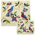 Raw Silk Matzah Cover Birds (EM-MAS-B)