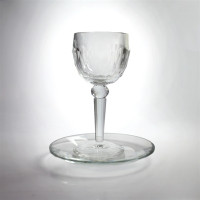 Crystal Elijah OR Kiddush cup + saucer KC-X1037