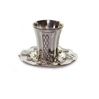 Silver Plated Kiddush Cup & Plate KC-X363