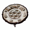 Wood and Silver Plated Seder Tray with 3 Legs P-P426