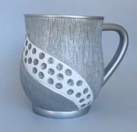 Acrylic Washing Cup Combed Design- Silver