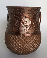 Acrylic Washing Cup Diamond Texture Bottom- Brown