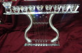Harp Shaped Crystal Menorah